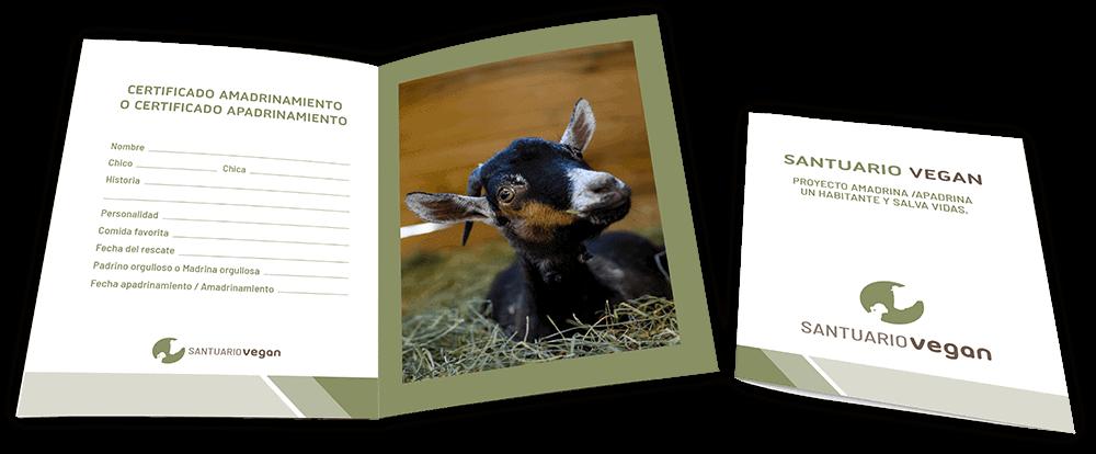 certificado apadrinamiento animal santuario vegan